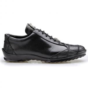 Belvedere Paulo Ostrich & Calfskin Sneakers Black Image
