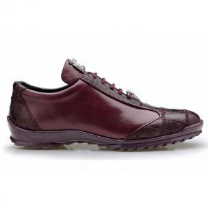 Belvedere Paulo Ostrich & Calfskin Sneakers Burgundy Image