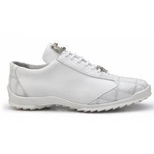 Belvedere Paulo Ostrich & Calfskin Sneakers White Image