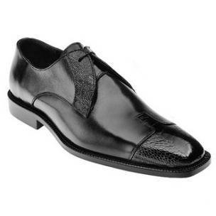 Belvedere Pisa Ostrich & Calfskin Cap Toe Shoes Black Image
