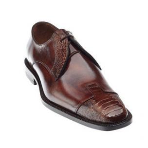 Belvedere Pisa Ostrich & Calfskin Cap Toe Shoes Camel / Almond Image