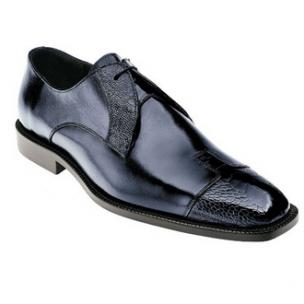 Belvedere Pisa Ostrich & Calfskin Cap Toe Shoes Navy Image