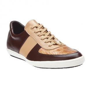 Belvedere Rana Crocodile & Calfskin Sneakers Brown / Taupe Image