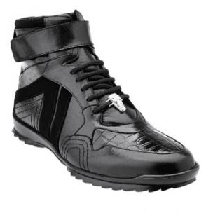 Belvedere Rino Crocodile Suede & Calfskin High Top Sneakers Black Image