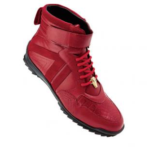 Belvedere Rino Crocodile Suede & Calfskin High Top Sneakers Red Image