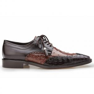 Belvedere Roberto Ostrich & Crocodile Derby Shoes Brown / Tobacco Image