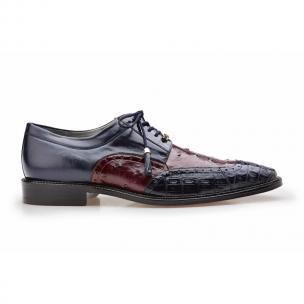 Belvedere Roberto Ostrich & Crocodile Derby Shoes Navy / Dark Wine Image