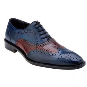 Belvedere Sesto Calfskin & Alligator Wingtip Shoes Antique Blue Safari / Wine Image