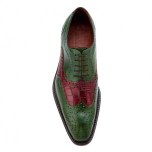 Belvedere Sesto Calfskin & Alligator Wingtip Shoes Antique Emerald / Wine Image