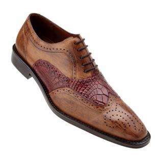 Belvedere Sesto Calfskin & Alligator Wingtip Shoes Antique Maple / Wine Image