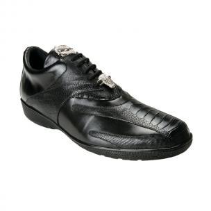 Belvedere  Bene Ostrich & Calfskin Sneakers Black Image