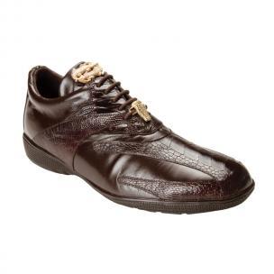 Belvedere  Bene Ostrich & Calfskin Sneakers Brown Image