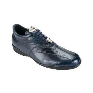Belvedere  Bene Ostrich & Calfskin Sneakers Navy Image