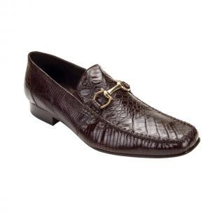 Belvedere Italo Crocodile & Lizard Bit Loafers Brown Image