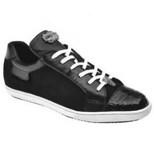 Belvedere Toro Crocodile & Soft Calfskin Sneakers Black Image