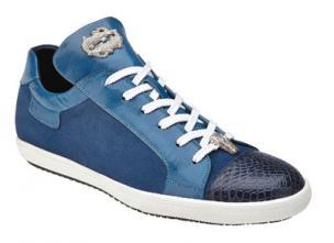 Belvedere Toro Crocodile & Soft Calfskin Sneakers Navy Image