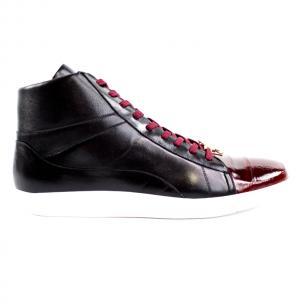 Belvedere Vitale Eel & Calfskin High Top Sneakers Black / Burgundy Image