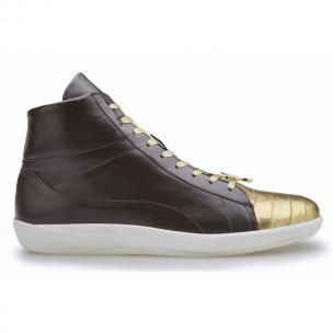 Belvedere Vitale Eel & Calfskin High Top Sneakers Brown / Gold Image