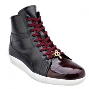 Belvedere Vitale Eel & Calfskin High Top Sneakers Dark Burgundy / Black Image