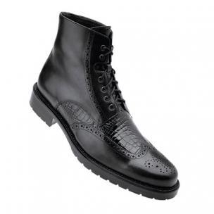 Belvedere Vito Calfskin & Alligator Wingtip Boots Black Image