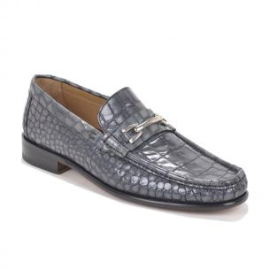 Bruno Magli Bice Croc Print Bit Loafers Gray Image