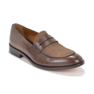 Bruno Magli Cosmo Linen & Leather Loafers Dark Brown Image