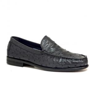 Calzoleria Toscana 1410 Ostrich Quill Loafers Navy Image