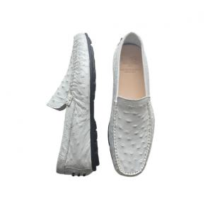 Calzoleria Toscana 2408 Ostrich Quill Driving Shoes White Image
