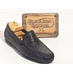 Calzoleria Toscana 2408 Ostrich Quill Driving Shoes Black Image