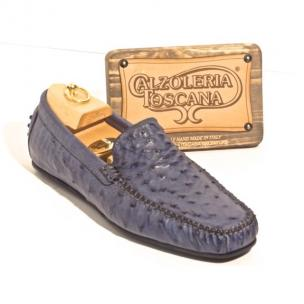 Calzoleria Toscana 2408 Ostrich Quill Driving Shoes Denim Image