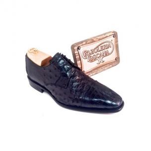 Calzoleria Toscana 2765 Caiman & Ostrich Cap Toe Shoes Blue Image