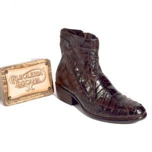 Calzoleria Toscana 4233 Caiman Hornback Side Zipper Boots Brown Image