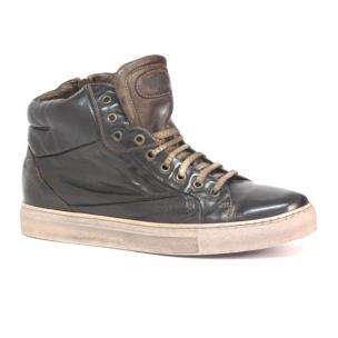 Calzoleria Toscana 5674 Padded Calfskin High Top Sneakers Brown Image