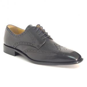Calzoleria Toscana 7181 Calfskin & Deerskin Wingtip Shoes Black Image