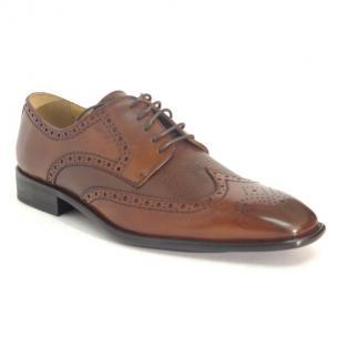 Calzoleria Toscana 7181 Calfskin & Deerskin Wingtip Shoes Mahogany Image