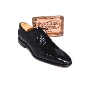 Calzoleria Toscana 7292 Baby Crocodile Derby Shoes Black Image