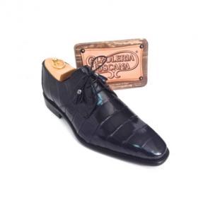 Calzoleria Toscana 7292 Baby Crocodile Derby Shoes Navy Image