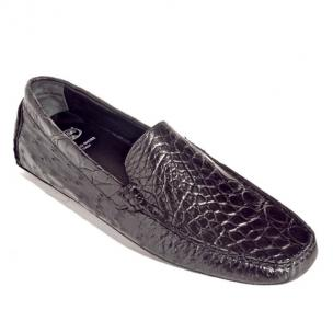 Calzoleria Toscana 8675 Crocodile & Ostrich Driving Shoes Black Image