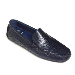 Calzoleria Toscana 8675 Crocodile & Ostrich Driving Shoes Navy Image