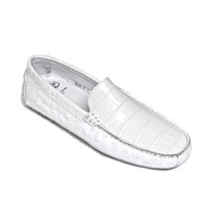 Calzoleria Toscana 8675 Crocodile & Ostrich Driving Shoes White Image
