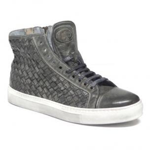 Calzoleria Toscana 9996 Woven Calfskin High Top Sneakers Cloud Image