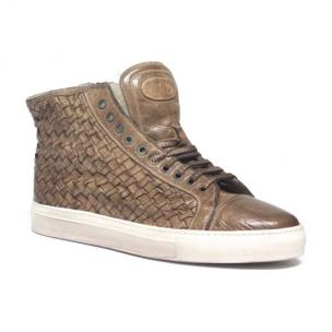 Calzoleria Toscana 9996 Woven Calfskin High Top Sneakers Rope Image