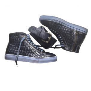 Calzoleria Toscana 9996 Woven Calfskin High Top Sneakers Blue Image