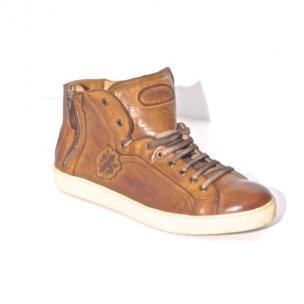 Calzoleria Toscana A892 Calfskin High Top Sneakers Walnut Image