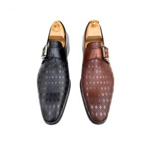 Calzoleria Toscana Z315 Embossed Calfskin Monk Strap Shoes Image