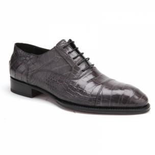 Caporicci 1102 Genuine Alligator Cap Toe Shoes Gray Image
