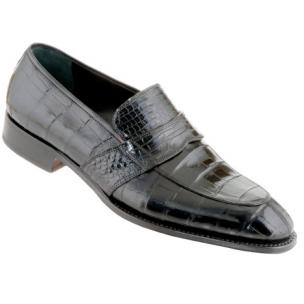 Caporicci 1208 Genuine Alligator Apron Toe Penny Loafers Black Image