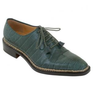 Caporicci 1400 Norwegian Stitch Alligator Oxfords Green Image