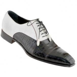 Caporicci 201 Genuine Alligator Spectator Shoes Black / White Image