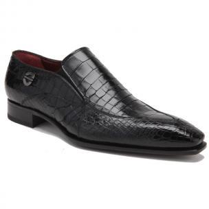 Caporicci 203 Alligator Split Toe Loafers Black Image